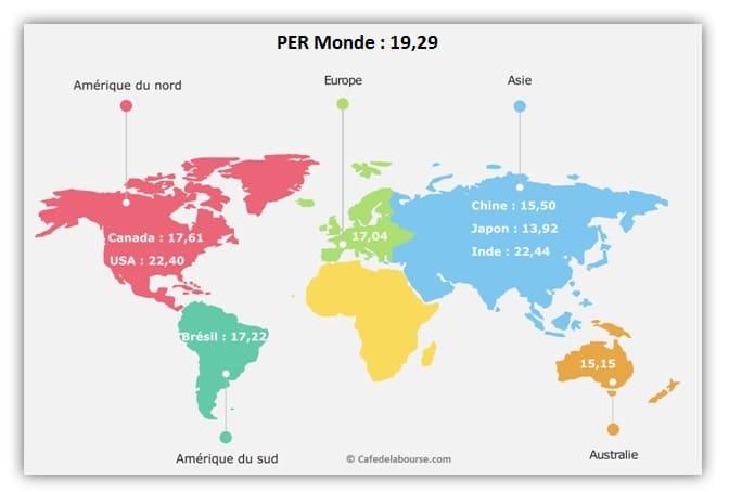 bourse carte du monde actions les moins cheres